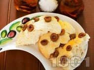 Рецепта Домашен хляб фокача с маслини и морска сол
